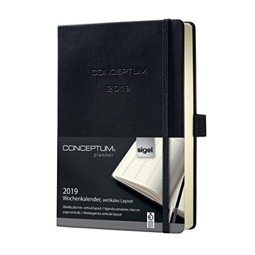 Sigel C1919 Wochenkalender 2019, ca. A5, schwarz, Hardcover, vertikales Layout, CONCEPTUM - weitere Modelle