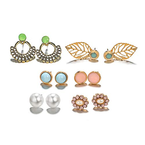 6 Pairs/Set Women Faux Pearl Hollow Leaf Round Flower Ear Stud Schmuck -
