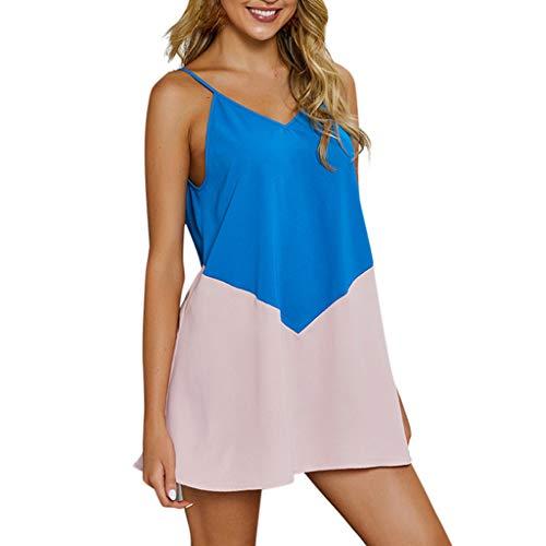 Amphia - Damen Nähgurt mit V-Ausschnitt - Damen Boho Beach V-Ausschnitt Minikleid Damen Patchwork Partykleid ()