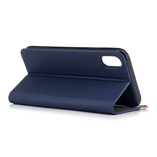 Coque pour Apple iPhone X ,IJIA Élégant Denim Couleur D'épissage Noir PU + TPU Doux Silicone Slot Flip Cuir Portefeuille ID Credit Card fonction Case Cover Bookstyle Housse Etui pour Apple iPhone X (5 Darkblue
