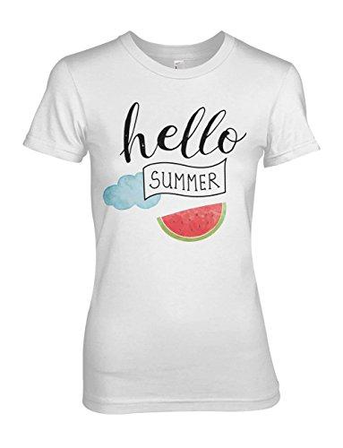 Hello Summer Weekend Damen T-Shirt Weiß