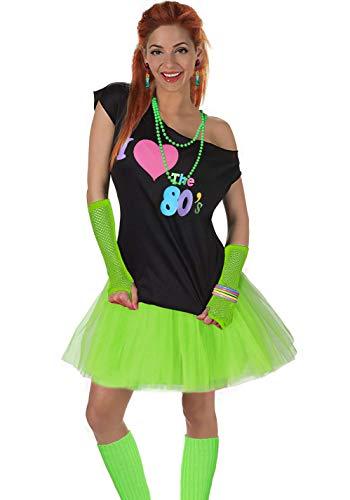Kostüm Disco Womens - Fun Daisy Clothing Damen I Love The 80er Jahre T-Shirt 80er Jahre Outfit Zubehör, Grün - UK 14-16 / M-L