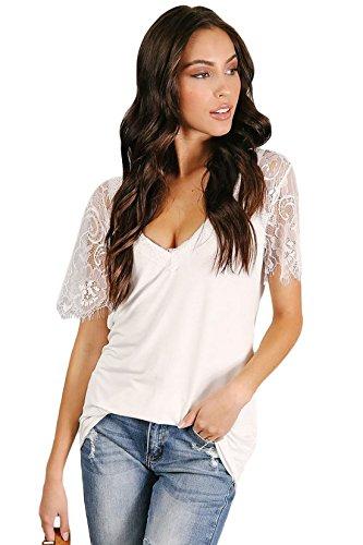 Lewi Brun Damen V-Ausschnitt T-Shirt mit Spitzendetail-Look, S, Weiß (Mit Gehäkelte V-ausschnitt Pullover)