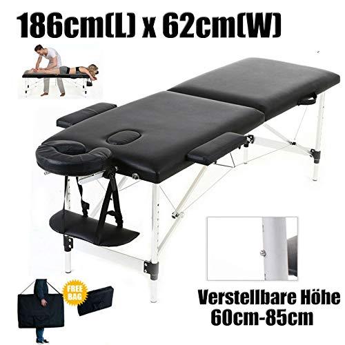 Mobile Massagebank Massageliege Massagetisch Klappbar Massagebett mit 2 Zonen höhenverstellbaren Aluminium-Füßen Kosmetik Bank (bis 230kg belastbar)