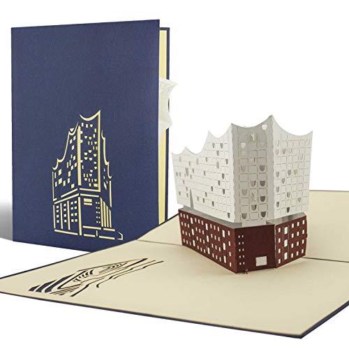 Diese-Klappkarten Elbphilharmonie, Pop-Up-Karten, Gutschein, Perfekte Verpackung als Geschenk, Reisegutschein, Souvenir, Reise nach Hamburg A06
