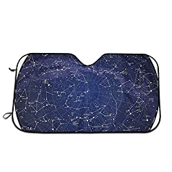 Generic Windshield Sunshade for Car,High Detailed Sky Map of Northern Hemisphere with Names of Stars,Front Window Sun Shade Visor Shield Cover(27.5 x 51)