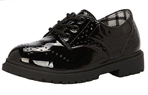 WUIWUIYU Garçon Fille Mixte Enfant école Suède Cuir Oxford Chaussures de Ville à Lacets