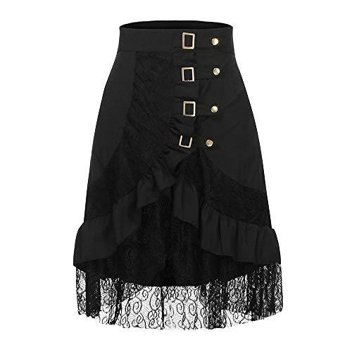 Damen RöCke Schwarz Punk Irregular Kleid Steampunk Cocktail - Steampunk Kleid Weiss