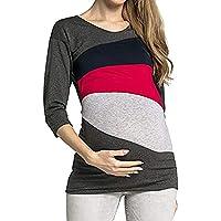 Frau Mumie Schwanger Bluse, Quaan Block Doppelt Schicht Bluse T-Shirt Lange Ärmellos Streifen Beiläufig Klassisch Einfachheit Retro Sport Sweatshirt weich Gemütlich Baumwolle T-Shirts - preisvergleich