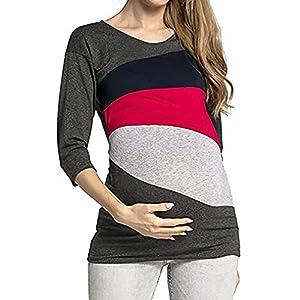 STRIR-Camiseta-De-Mujeres-Ropa-para-La-Lactancia-De-Maternidad-De-Raya-para-Mujeres-Las-Mujeres-Embarazadas-Maternidad-EnfermerA-Raya-Lactancia-Top-Camiseta-Blusa-XXL-Rojo-D