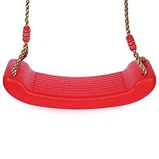 RUNACC Schaukel Spielplatz Schaukelsitz Anti Rutsch Kunststoff Schaukelsitz mit Verstellbaren Hanf Seil für Erwachsene und Kinder,150kg Gewicht, Belastbarkeit,Rot