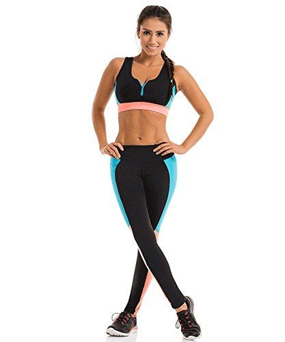 LaLaAreal Mallas Leggins Deportivo Top Sujetador Relleno Mujer Conjunt