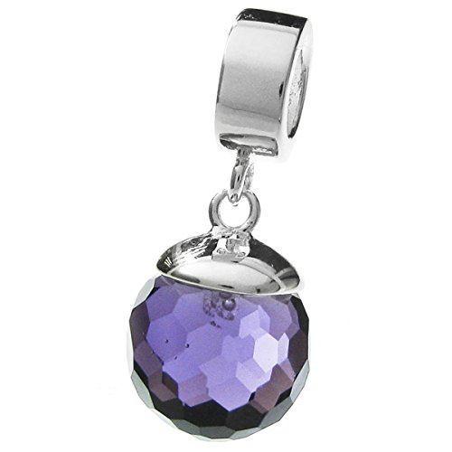 925sterling silver purple cz crystal disco ball dangle bead per braccialetti europei