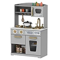 HOOGA Premium Chefs Large Childrens Kids Pretend Play Toy Wooden Kitchen Grey/Gold - HG19001G
