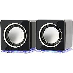 Incutex - Casse con LED colorati, altoparlanti per PC e notebook, diffusori audio, casse acustiche portatili, portable speaker - nere