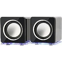 Incutex Rainbow - Altavoces portátiles - Iluminación LED - Ideal para ordenador y portátil - Negro