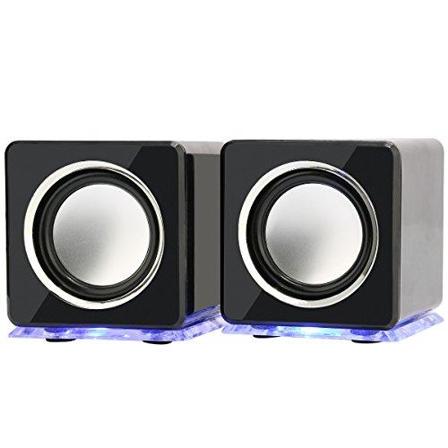 Incutex - Altavoces Led Portátiles Coloridos, Altavoces Para Ordenador Y Portátil, Negro