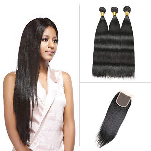 796cecea26 Dai Weier Lace Closure With 3 Bundles Brazilian Hair Free Part Straight  Virgin Human Extension Weave