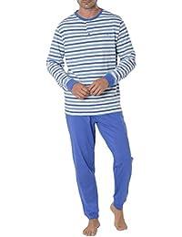 El Búho Nocturno Pijama de Caballero clásico de Manga Larga Pijama a Rayas y de Entretiempo de Punto de algodón para Hombre