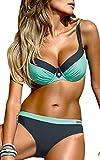 OLIPHEE Damen Tribal Bikini Set Mit Bügel Brasilianische Gepolstert Bademode große größen Blau XL