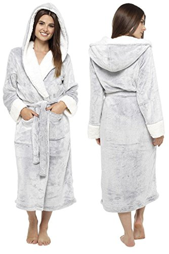 Ladies Sherpa Lined Hooded Shimmer Soft Coral Fleece Gowns Robes Wraps LN526