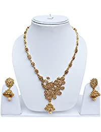 Lucky Jewellery Trendy Golden Color Alloy Peacock Design Necklace With Earring For Girls & Women