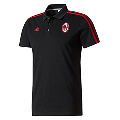 AC Milan 3 Stripe Polo - Black