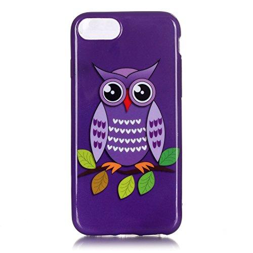 Für iPhone 7,Sunrive Schutzhülle Etui Hülle TPU Silikon Rückschale Silicon Cover Tasche Case Bumper Abdeckung Handyhülle(Owl 3)+Gratis Universal Eingabestift Owl 1