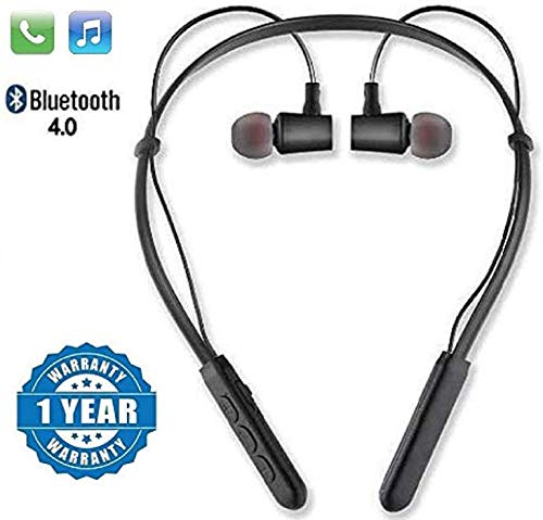SHOPTOSHOPNeckband Bluetooth Wireless Headset with Mic for All Smartphones Black ...