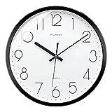 Plumeet 30cm Stille Wanduhr Anti-Ticken, mit modernem und schönem Design für Wohnzimmer, große Küchen-Wanduhr, batteriebetrieben (schwarz)