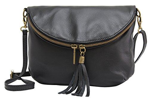 AMBRA Moda Italienische Ledertasche Schultertasche Crossover Umhängetasche Nappaleder Damen Kleine Tasche NL609 (Schwarz) (Reißverschluss Italienisches Mit Schwarz Leder)