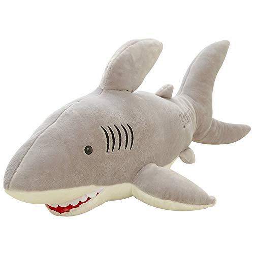 JK Gefüllter Hai Plüsch Kreativ Soft Jaws Hai Puppe für Kinder Geburtstag Geschenke Ozean Meer Tierbacken Grau 70cm