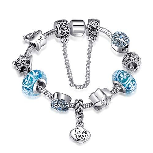 Catenina per serpenti di Qings, Bracciale a ciondolo d'amore Cassaforte in argento placcato con perle e perline di vetro murano a forma di fiore di zirconi rosa da 7,08 pollici (18cm) (BLUE)