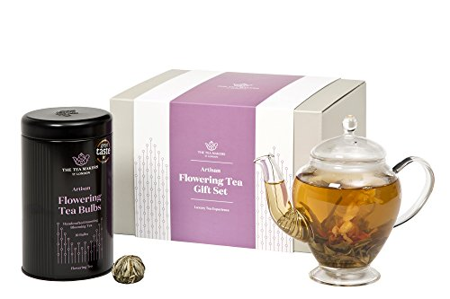 Flowering Tea Gift Set - 450ml Glass Teapot with Flowering Tea Gift Caddy with 10 Bulbs