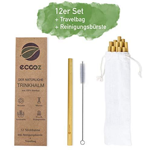 eccoz 12er Pack Bambus Strohhalme + TRAVELBAG + Reinigungsbürste   wiederverwendbar nachhaltig   umweltfreundliche Trinkhalme für Cocktails Smoothies Saft   Spülmaschinenfest   BPA frei
