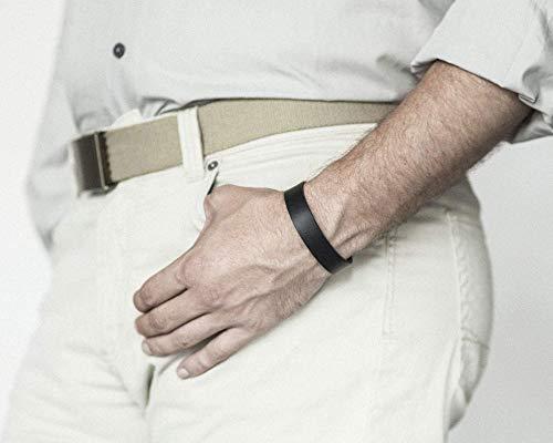 braccialetto in pelle italiana, conciata al vegetale, nero, taglia media, per polso 165-180mm