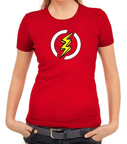 Blitz Kostüm Superheld Comic Frauen T-Shirt Karneval & Fasching witzige Verkleidung Rot // XXL