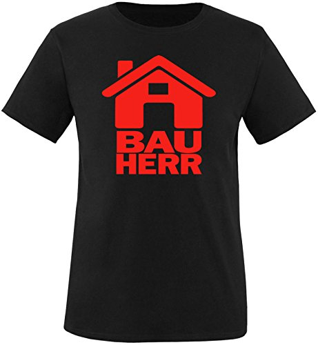 Luckja Bauherr Herren Rundhals T-Shirt Schwarz/Rot