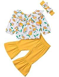 Baby Mädchen Drucken Kleidung Kleinkind Baumwolle Langarm T-Shirt+Hosen+Headwrap Outfits Sets