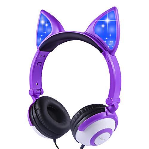 Auriculares para niños en la Oreja con Orejas de Gato Que Brillan intensamente LED, Auriculares con Cable para niños de 85dB (púrpura)