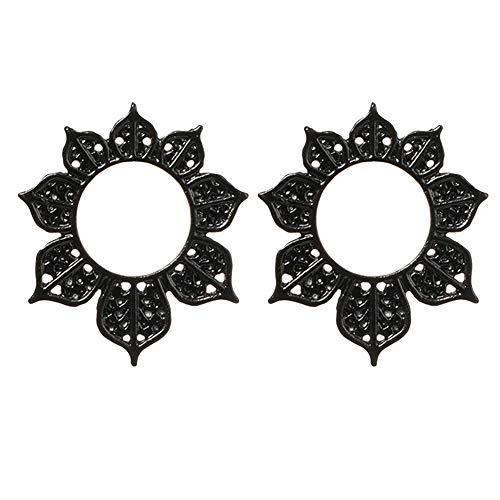 Kuizhiren1 Jewelry Gift Stud Earrings for Girls/Women, Fashion Women Big Openwork Hollow Flower Circle Ear Stud Earrings Jewelry Gift - Black