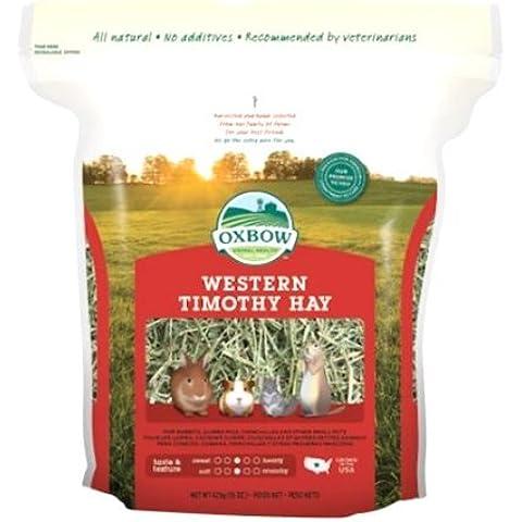 Oxbow Western Timothy Hay 425 gr - Il fieno più consigliato dai veterinari per piccoli animali erbivori (4 sacchetti)