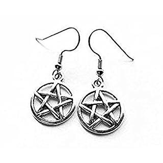 Silber-Ohrringe mit Pentagramm Amulett (Paar) Occult Pagan Wicca Witchcraft. hervorragendes Preis-Leistungs-Verhältnis.