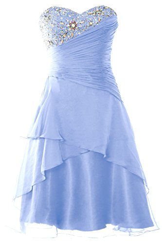 MACloth Women Strapless Short Prom Dress Tiered Cocktail Party Formal Gown Sky Blue