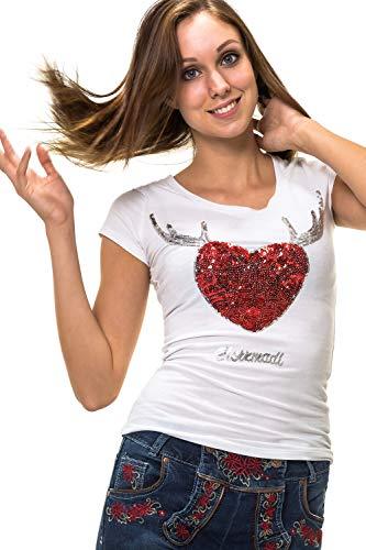 Hailys Damen Trachten T-Shirt Herzmadel Oktoberfest Pailletten Weiß M