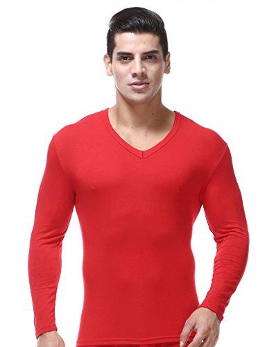 Bestgift Homme sous vêtement thermique à manche longue XXXXXL Rouge