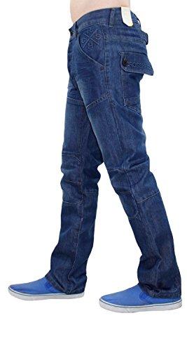 New Men Designer Crosshatch Revêtue Denim Regular Fit Straight Leg Jeans Trouser Stone Wash