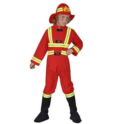 WIDMANN Pompiere Casacca Pantaloni Copristivali Elmo Luminoso Costumi Completo 579 per Bambini, Multicolore, XX-Small, 8003558557066