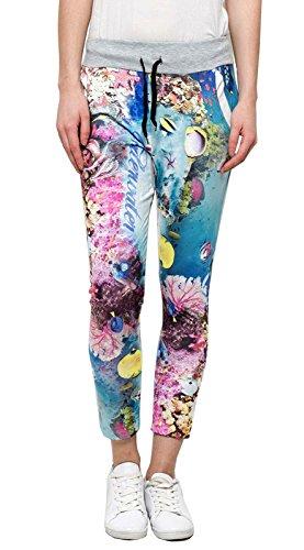 Damen Freizeit Hose mit Korallen Fische Motiv bunt Einheitgröße, Größe:Einheitsgröße, Farbe:Bunt (Hosen Polyester-aktion)