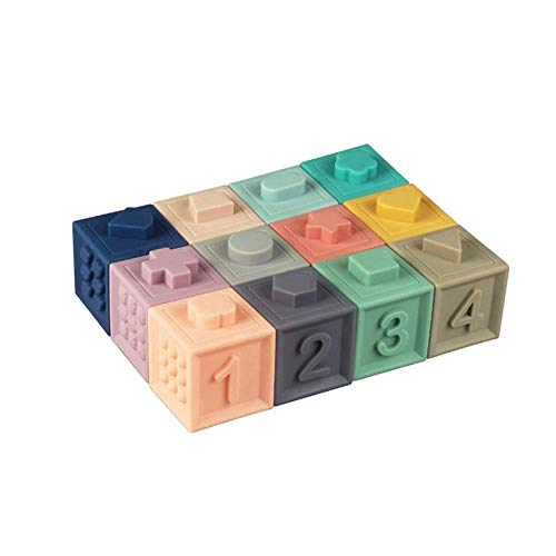 Beaulies Building Block, Puzzle Educational Toy Soft Rubber Vinyl Embossed Building Blocks Baby Set for Girls & Boys Building (Baby-blöcke)